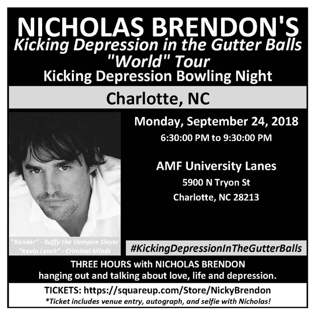 Nicholas Brendon - Kicking Depression in the Gutter Balls Bowling Night @ AMF University Lanes