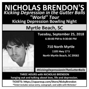 Nicholas Brendon Kicking Depression in the Gutter Balls Bowling Night @ 710 North Myrtle